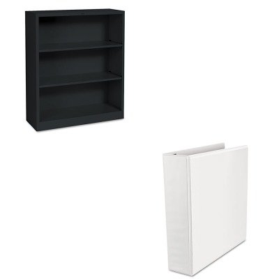 KITHONS42ABCPUNV30732 - Value Kit - Universal Comfort Grip Deluxe Plus D-Ring View Binder (UNV30732) and The HON Company HON Brigade 3-Shelf Steel Bookcase, Black (HONS42ABCP)
