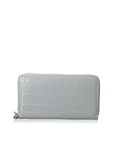 Alexander McQueen Women's Zip Wallet, Silver/Blue