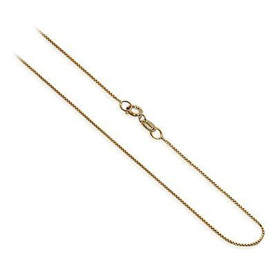 "ZFCG001-Y-16 14 KT Yellow Gold 0.6mm wide Baby Box Chain 16"" Necklace"