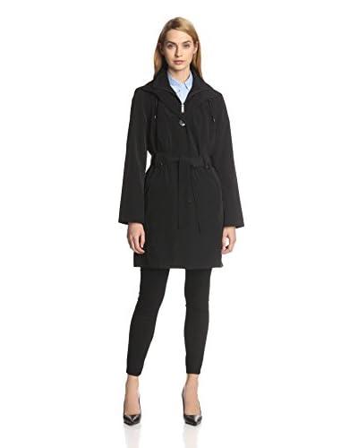 London Fog Women's Single-Breasted Belted Bib Coat