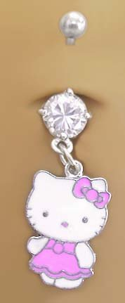 Pink Classic Hello Kitty Dangle Belly Navel body jewelry piercing bar Ring