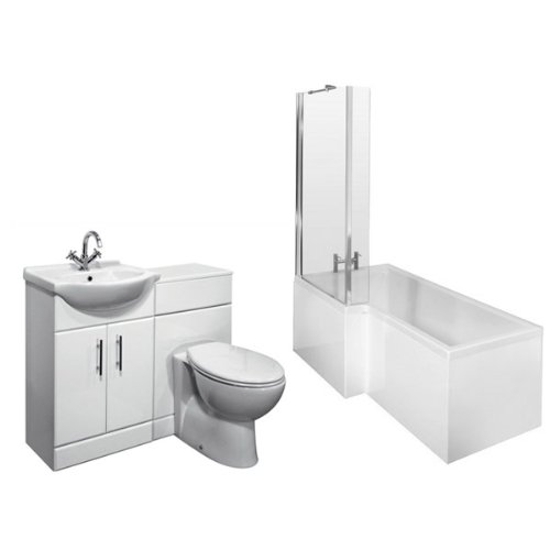 L-Shaped Shower Bath Left Hand, White Gloss 550 Vanity Unit and BTW
