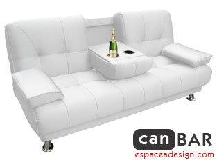 Espace A Design Canapé Convertible Canbar blanc - Canapé design convertible avec bar