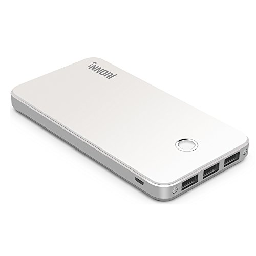 モバイルバッテリーINNORI 12000mAh USBポート 携帯充電器 各種のスマホ(マルチデバイス)Samsung Galaxy S3 S4 note3、HTC One Mini、Google Nexus 5、Nokia Lumia 520 1020、LG G 2 ; iPhone 6 6 plus 5 5S 4S、iPod 等 (White)