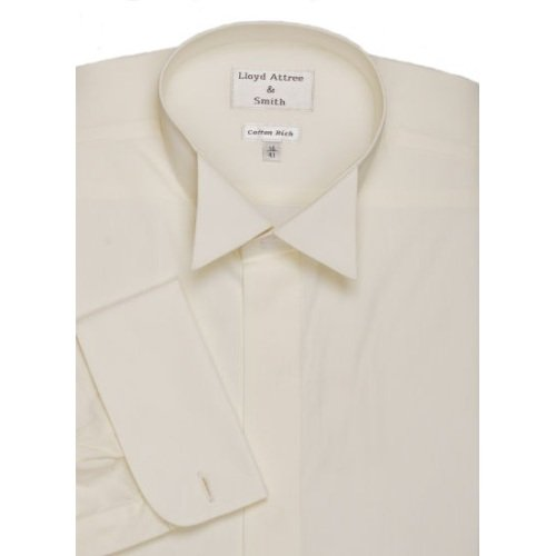 Mens Wing Collar Cotton Rich Formal Dress Shirt Ivory with Double Cuff