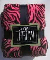 "Microplush, Safari Animal Print Blanket/Throw, Tiger/Zebra Print, Pink/Brown 50"" X 60"" front-170750"