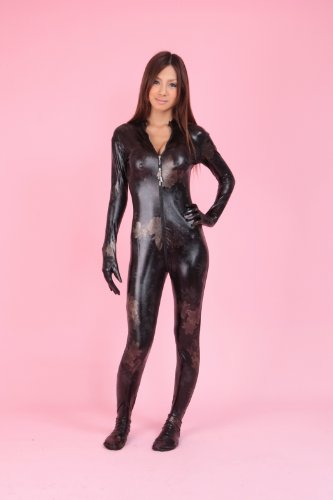 黒花柄 指先と爪先まであるキャットスーツ (全身タイツ) 黒色系 (BG17-5H) (男性Lサイズ)