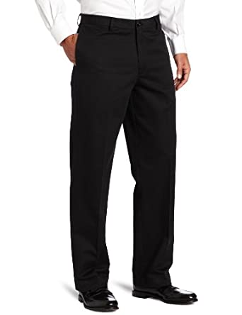 IZOD Men's Flat Front Madison Pant, Black, 29x30