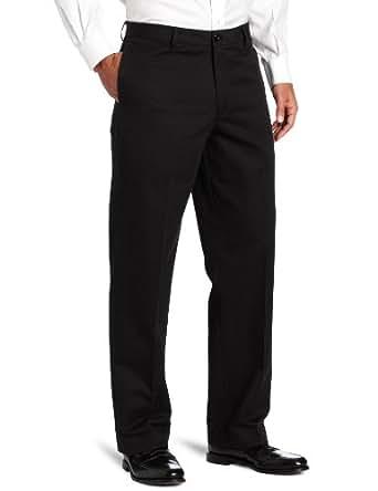 IZOD Men's Flat Front Madison Pant, Black, 29x30