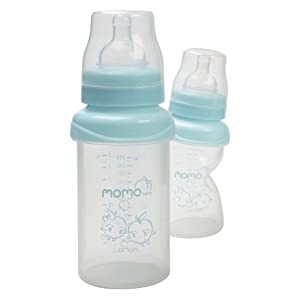 Momo Baby Wide Neck Silicone Baby Bottle, Blue, 9 Ounce (Discontinued by Manufacturer)