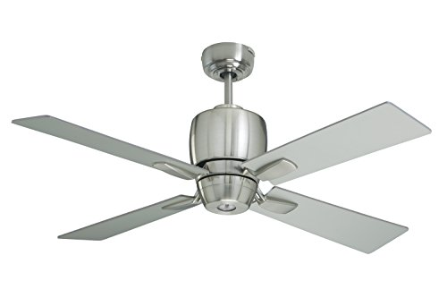 Emerson Cf230Bs Veloce Indoor Ceiling Fan, 46-Inch Blade Span, Brushed Steel Finish And Brushed Steel/Chocolate Blades
