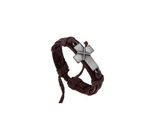 Most Beloved Unisex Leather Charm Bracelets Punk Rock Vintage Geometric Cross Wrap Bangles Wristband (Custom Made Bracelets For Men compare prices)