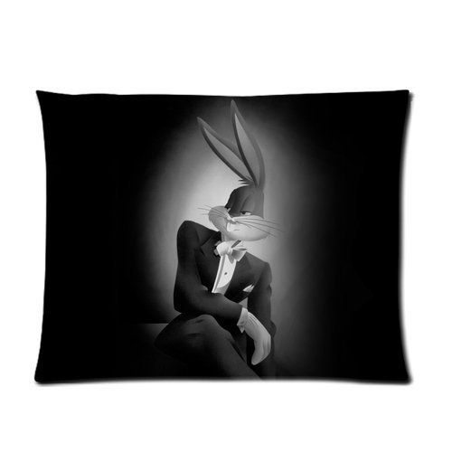 Butuku Looney Tunes Animation Series Cartoon Character Bugs Bunny Moonlight Gray Background Cool Personalized Custom Soft Pillow Case Cover 20X26 (One Side) front-703697
