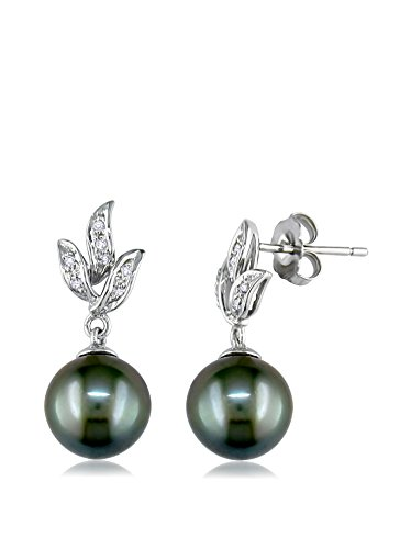 Michiko 10k White Gold Tahitian Cultured Pearl & 1/10-Ct. Diamond Floral Stud Earrings