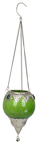 Artefacts Glass Hanging Candle Holder With Bowl (16 Cm X 10 Cm X 16 Cm, Silver & Green, Set Of 2)