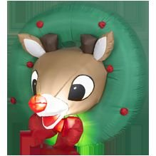 Rudolph The Red Nosed Reindeer Wreath Christmas Gemmy Airblown Inflatable