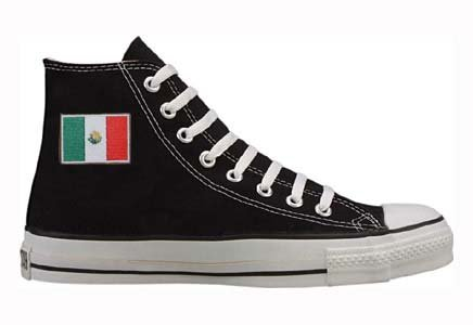 Converse Chuck Taylor All Star Hi Top Black with Mexican Flag