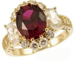 14k Yellow Gold, Fancy Estate Cocktail Style Ring with Lab Created Brilliant Oval Shape Red Colored Stone