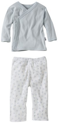 Burt'S Bees Baby Baby Boys' Essentials Kimono Top/Print Bottom (Baby)-Sky - Blue - 0-3 Months front-919896