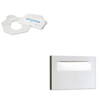 KITBOB221HOSHG2500 - Value Kit - Hospeco Health Gards Toilet Seat Covers (HOSHG2500) and Bobrick Stainless Steel Toilet Seat Cover Dispenser (BOB221) kitbun6101bwk390 value kit toilet tissue 9quot diameter bun6101 and boardwalk disposable apron bwk390