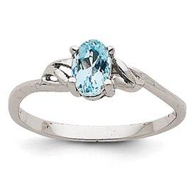 Genuine IceCarats Designer Jewelry Gift 14K White Gold Aquamarine Birthstone Ring Size 7.00