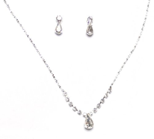 Dainty Diamante Pear Drops Necklace and Earrings Set