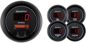 Auto Meter 6300 Sport Comp Digital 5 pc. Kit Box with Programmable Electric Speedometer and Electric Oil Pressure Water Temperature Volts and Programmable Fuel Level