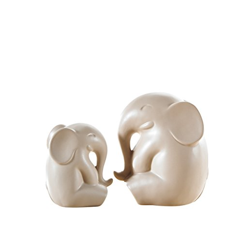 Pure.Lifestyle - Sitting Elephants(Set of 2) - Two Colors Ceramic Decoration Animals Figurine Porcelain Sculptures Statues Crafts Wedding Gifts Welcome Home Warming Christmas Gift Birthday Presents