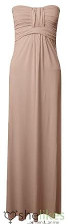 Womens Long Jersey Dress Ladies Knot Front Strapless Boobtube Maxi Dress UK 8-14 Beige UK 12-14 / AUS 12-14 / US 8-10