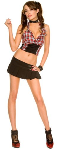 Item Name Collection Gothic Plaid Halter Top And Buckled Pleated Skirt School Girl Outfit With Ankle Socks(As Shown,Sm) front-522518