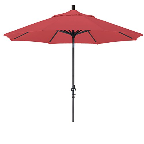 California Umbrella 9' Round Aluminum Market Umbrella, Crank Lift, Collar Tilt, Black Pole, Red Olefin