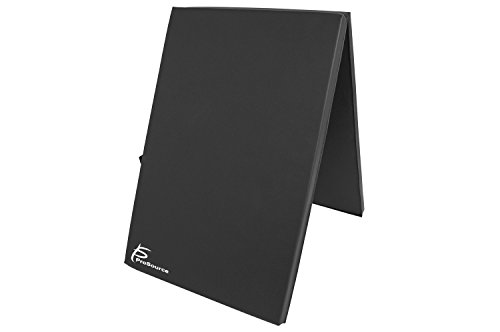 ProSource Bi-Fold Folding Thick Exercise Mat 6'x2' with Carrying Handles for MMA, Gymnastics Core Workouts, Black