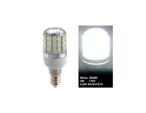Wrui3528-48L-110V 3W E14 48 X 3528Smd White Led Corn Bulb With Cover
