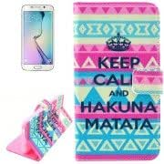 KEEP CALL and HAKUNA MATATA Pattern Leather Case with Holder Card Slots Wallet for Samsung Galaxy S6