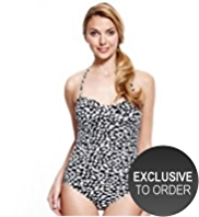 M&S Collection Halterneck Brushstroke Bandeau Swimsuit