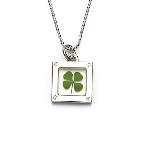 stainless-steel-real-four-leaf-clover-clear-square-pendant-necklace-16-18-inches