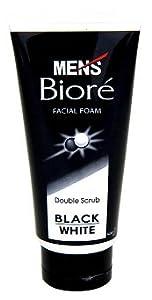 Mens Biore Double Scrub mit weißen und schwarzen Scrubperlen
