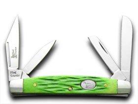 Steel Warrior Little Congress - Key Lime Jigged Bone Handles Pocket Knife Knives