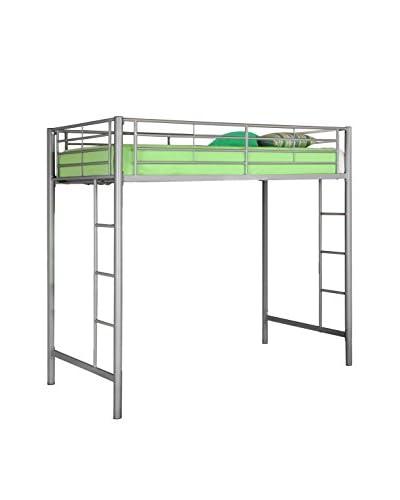 Walker Edison Twin Metal Loft Bed, Silver