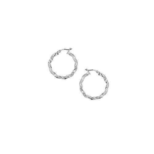 Rhodium Plated .925 Sterling Silver 21mm Diameter High Polish Twisted Hoop Earrings