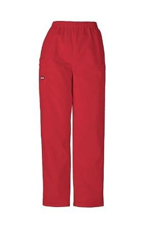 Scrubs - Cherokee Authentic Workwear 4200 PETITE Pull-On Cargo Scrub Pant (Red, XS-Petite)