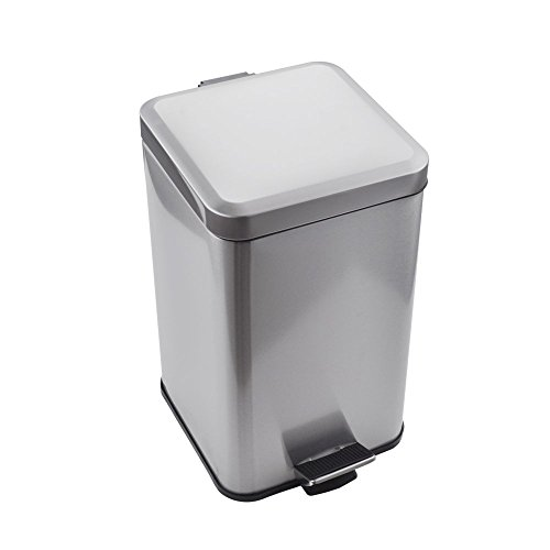 KES Stainless Steel Square Step Trash Can with Removable Inner Bucket Silent Close Lid and Fingerprint-proof Brushed Nickel Finish for Modern Hotel Office Home 12 L / 3.2 Gal, STC210S12-2 (Nickel Trash Can compare prices)