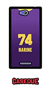 Caseque IPL Kolkata Knight Rider NARINE Jersey Back Shell Case Cover For Sony Xperia C