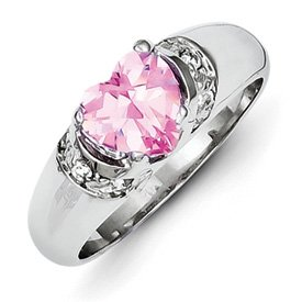 Genuine IceCarats Designer Jewelry Gift Sterling Silver 7Mm Heart Pink And Clear Cz Ring Size 6.00