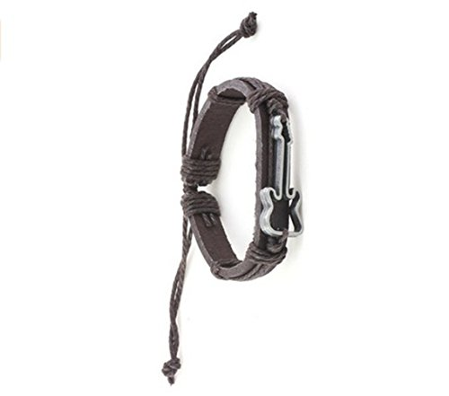 Most Beloved Electric Guitar Outline Bracelet Silver Tone Brown Leather Vintage Musical Fashion Jewelry