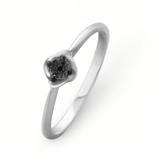 Platinum Plated Sterling Silver Round Diamond Black Solitaire Promise Ring (1/10 cttw)