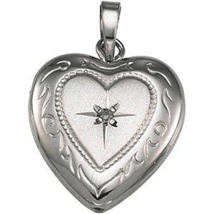 Sterling Silver 19.50X12.75 MM Heart Shaped Locket W/diamond Ring Size 6