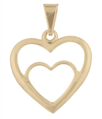 Small Gold Filled Heart within Heart Pendant