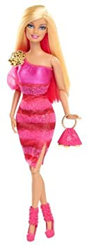 Barbie Fashionista Barbie Doll - Hot Pink Dress by Mattel TOY (English Manual)