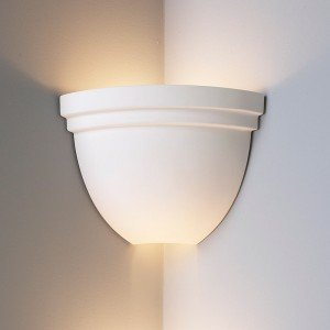 Corner Wall Light Fixture : 8.5 Inch Corner Bowl Light w/ Double Edge Rim- Ceramic Wall Sconce-Indoor Lighting Fixture ...
